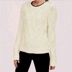LOFT Ann Taylor Ivory Cable Sweater Faux Leather